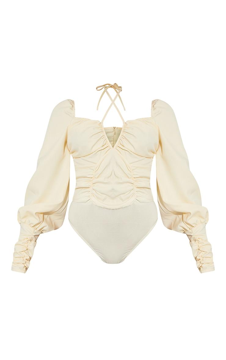 Cream Woven Halterneck Long Sleeve Bodysuit 5