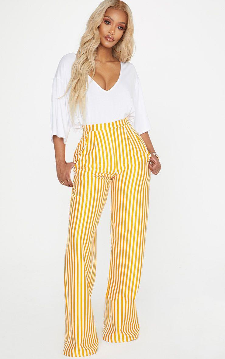Shape Mustard Striped Wide Leg Pants 1