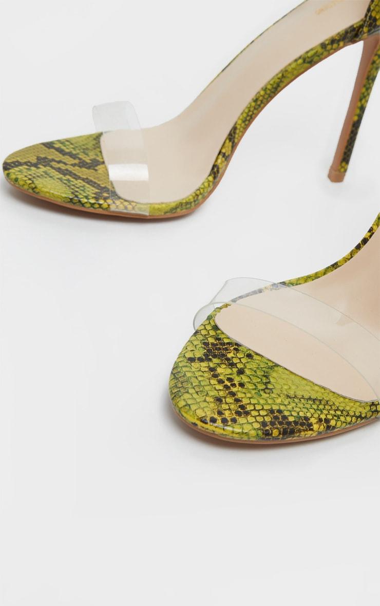 Sandales à brides à imprimé serpent vert citron fluo 4