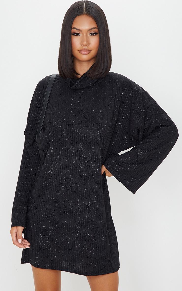 Black Glitter Rib Roll Neck Flare Sleeve Jumper Dress 1