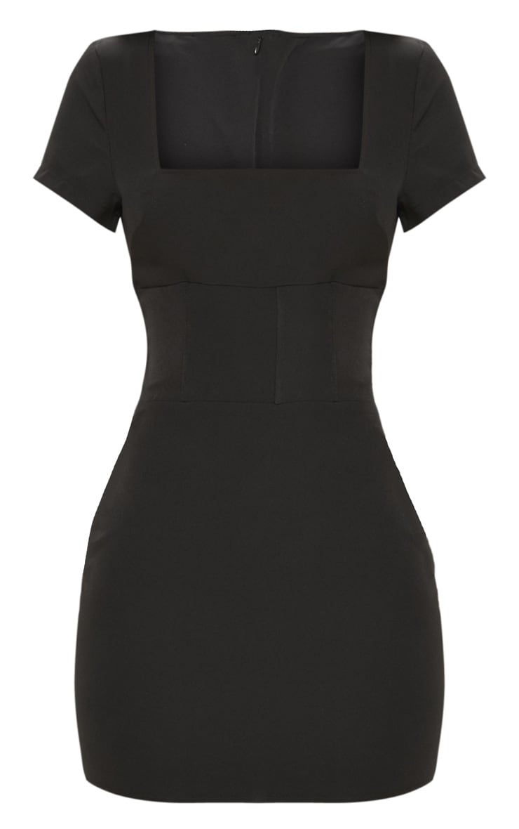 Black Square Neck Basque Detail Bodycon Dress 3