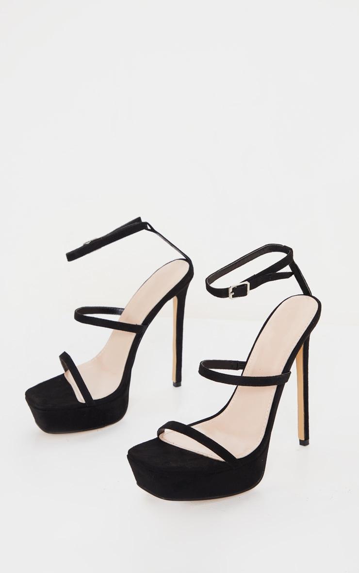 Black Platform Triple Strap Stiletto Heel 3