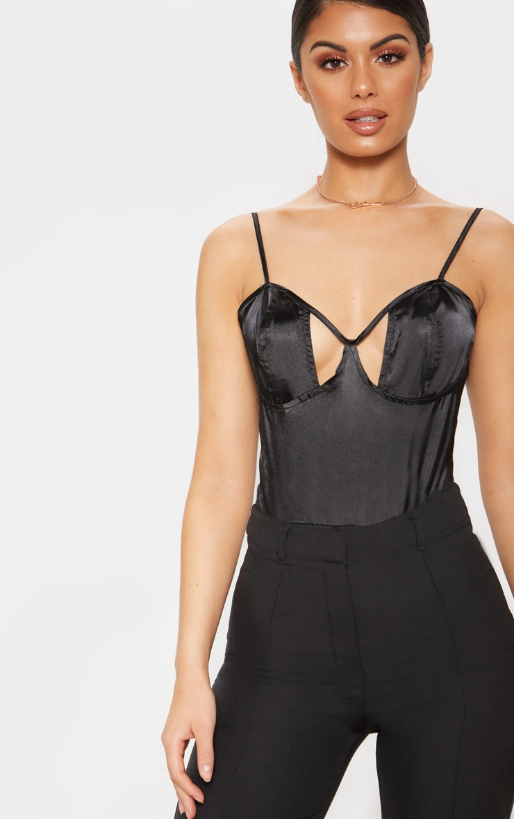 Black Satin Cut Out Bodysuit 1