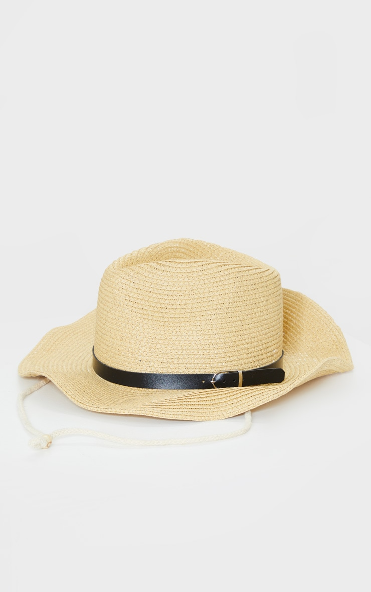Natural Straw Western Fedora Hat 3