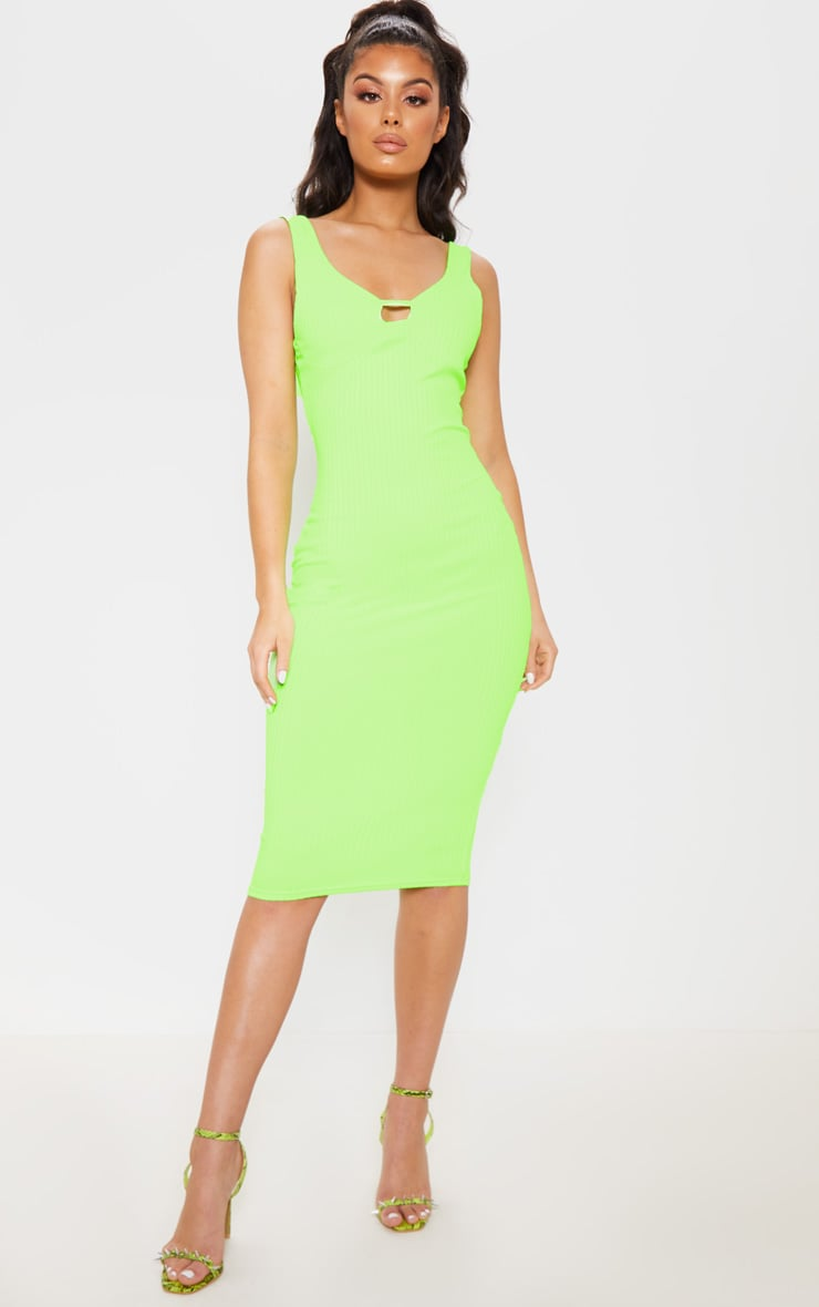 Neon Lime Ribbed Sleeveless Cup Detail Midi Dress 1