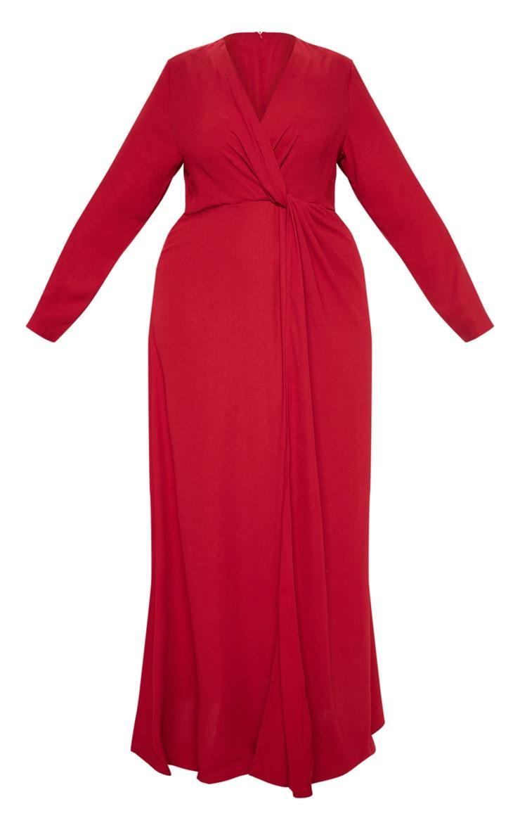 Plus Burgundy Twist Front Maxi Dress 3