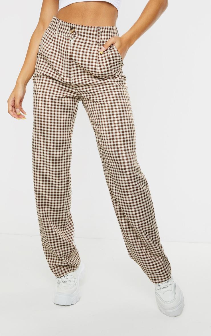 Brown Check Woven Straight Leg Pants 2