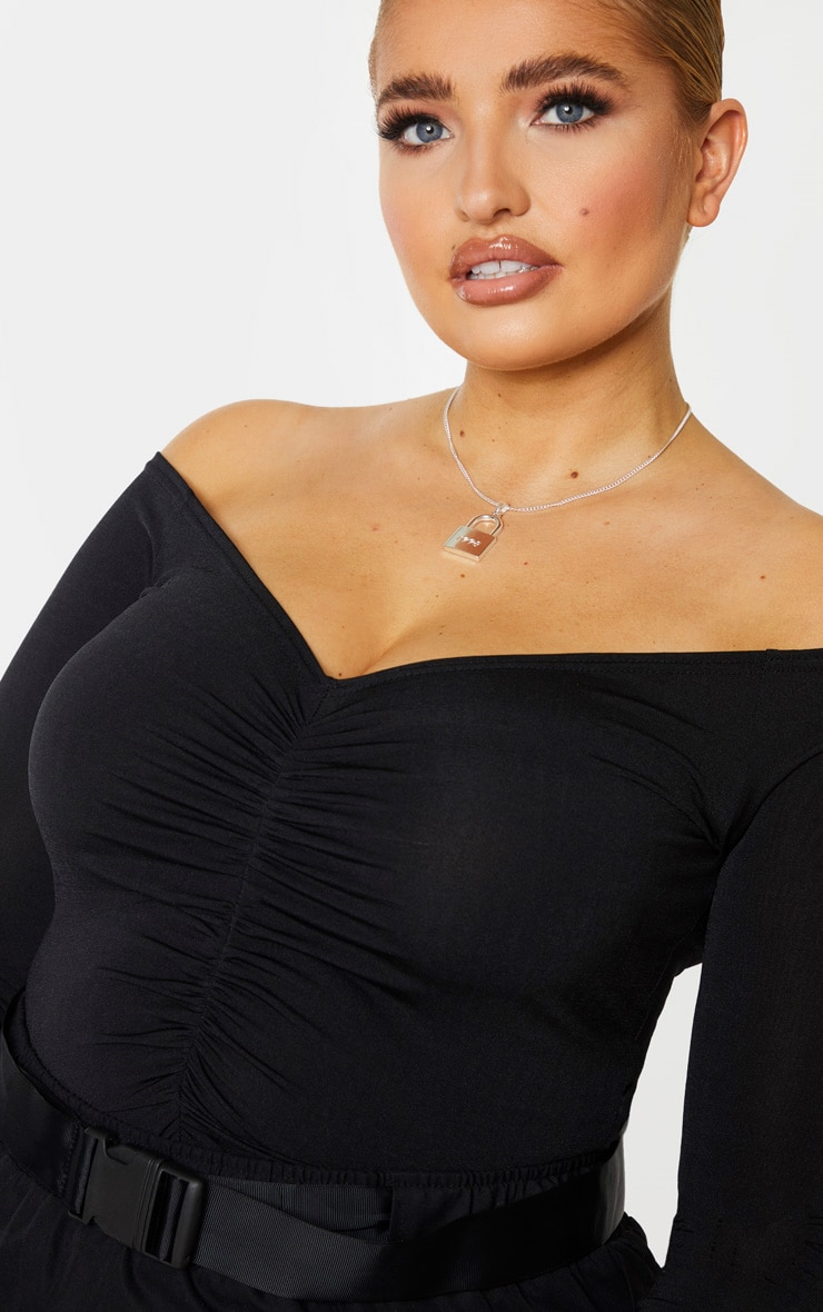 Plus Black Slinky Ruched Front Long Sleeve Crop Top 4