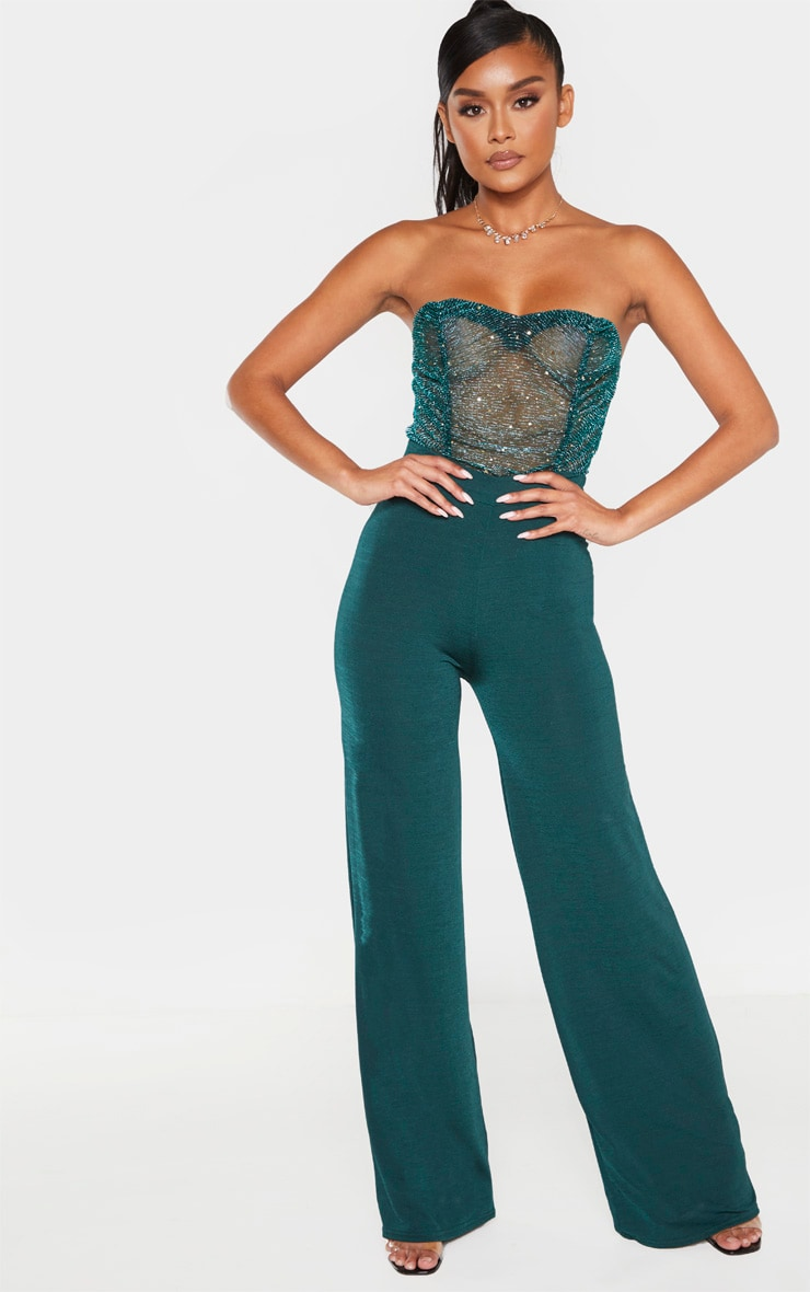Dark Green Sequin Mesh Bandeau Bodysuit 4