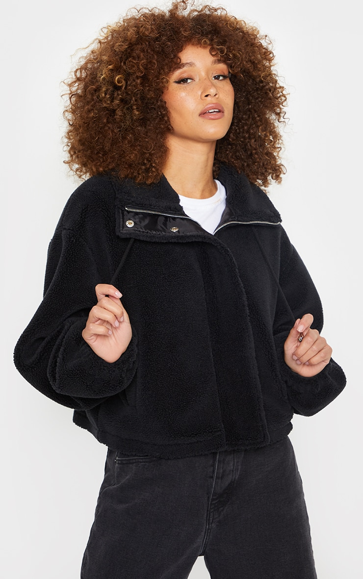 Black Short Teddy Zip Up Jacket 1