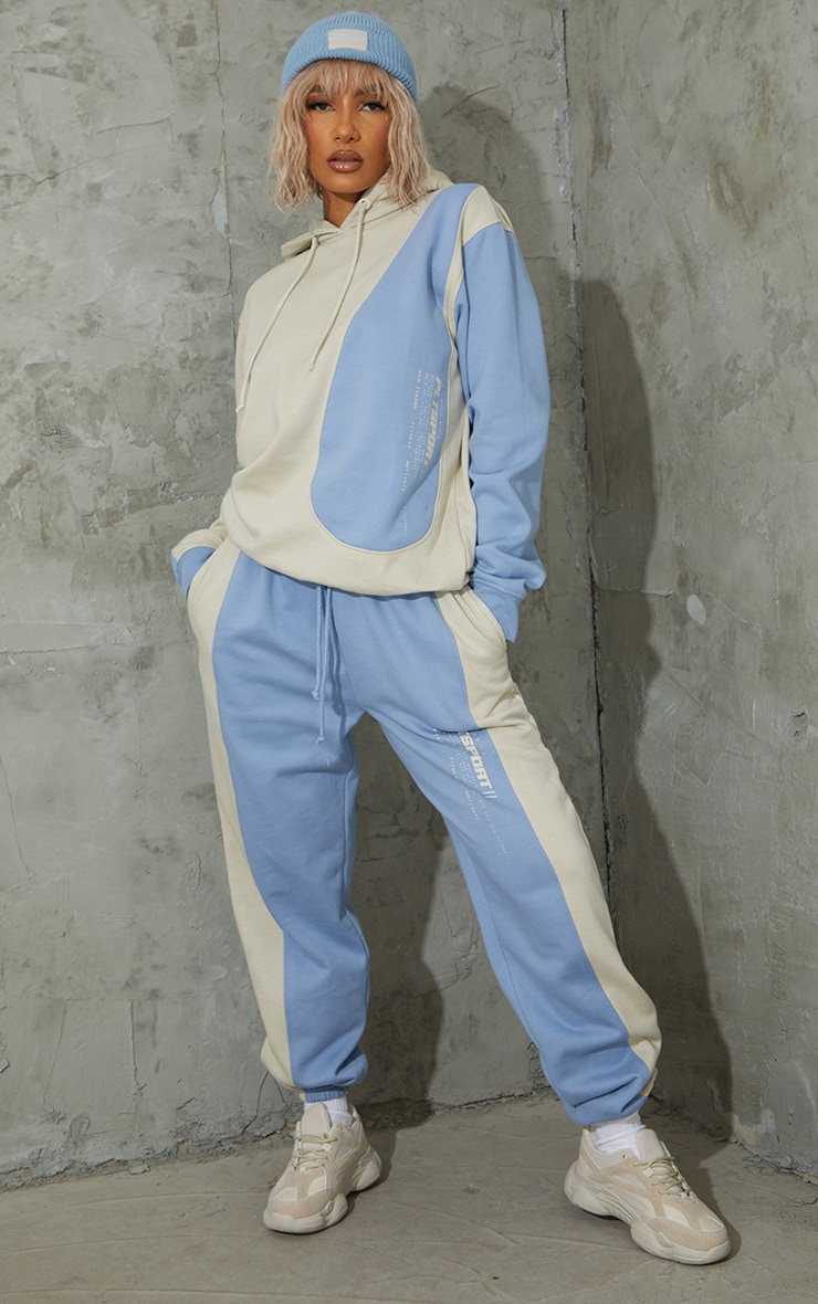 Oatmeal Colour Block Oversized Sports Hoodie 3