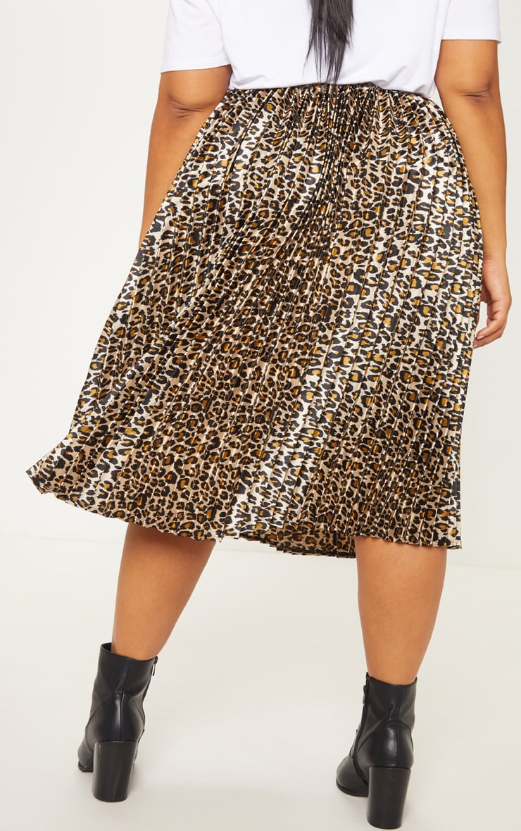 Plus Tan Leopard Pleated Midi Skirt 4