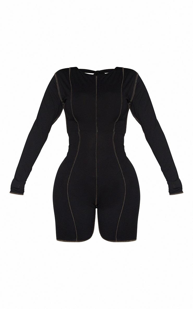 Shape Black Jersey Overlock Stitch Detail Low Back Unitard 5