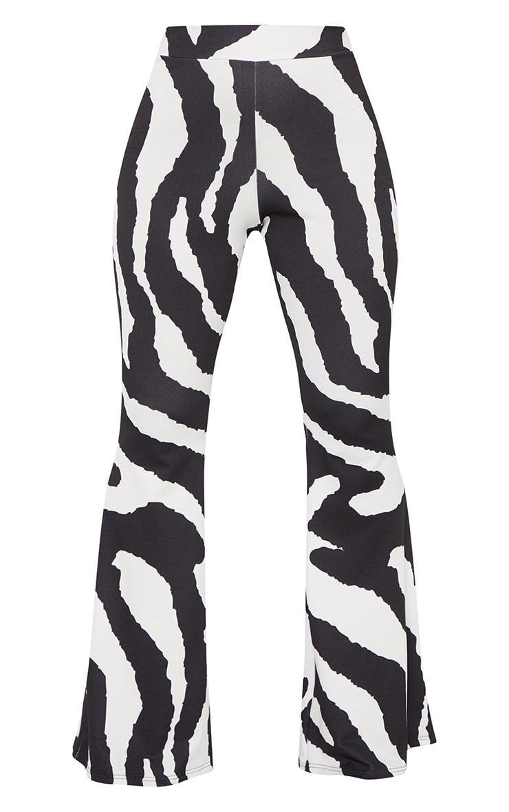 Black Zebra Print Flared Trouser 3