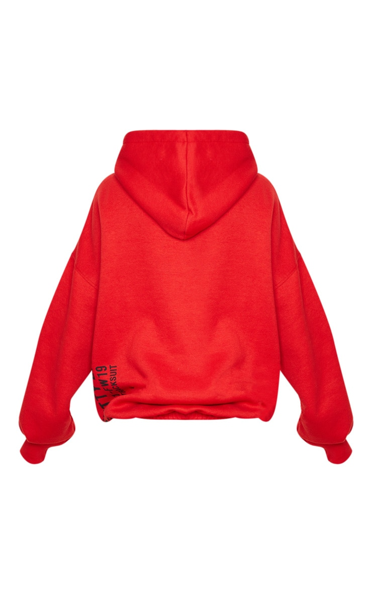 PRETTYLITTLETHING Red Oversized Slogan Back Pocket Front Hoodie 6