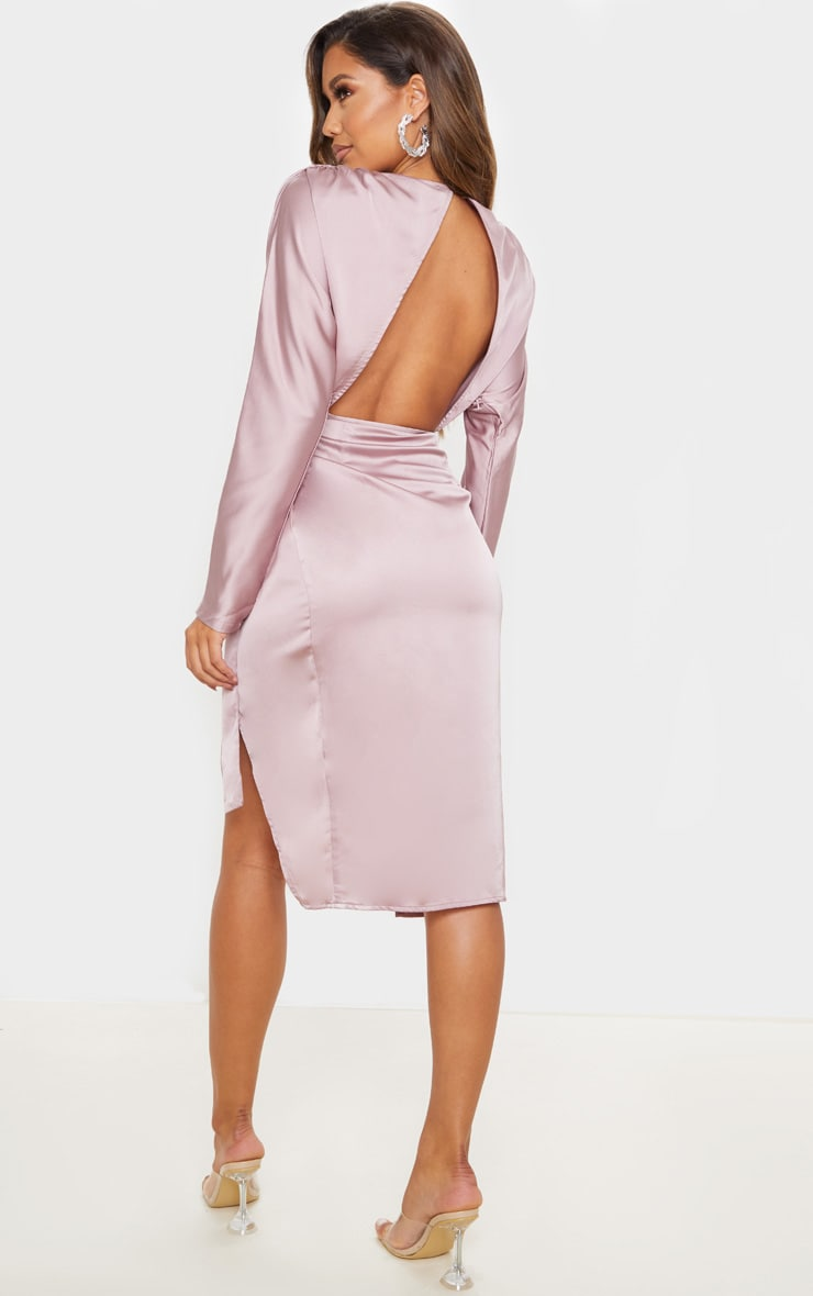 Mauve Satin Wrap Skirt Backless Midi Dress 2