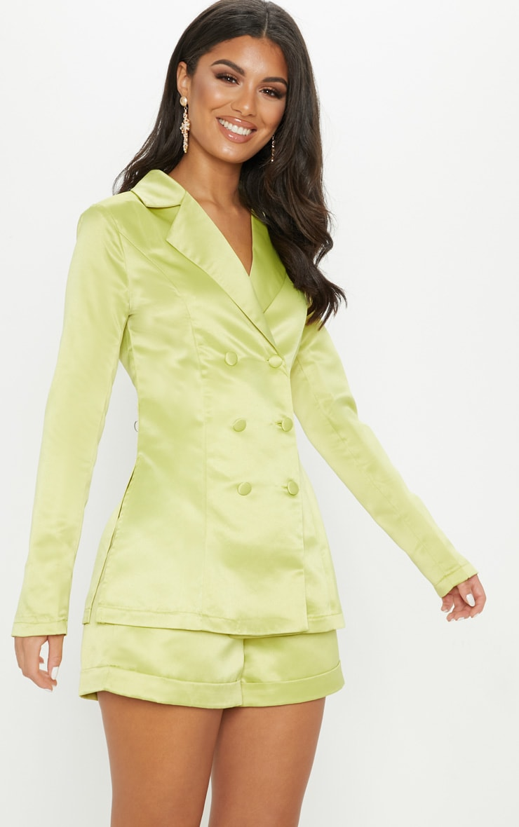 Lime Satin Suit Shorts