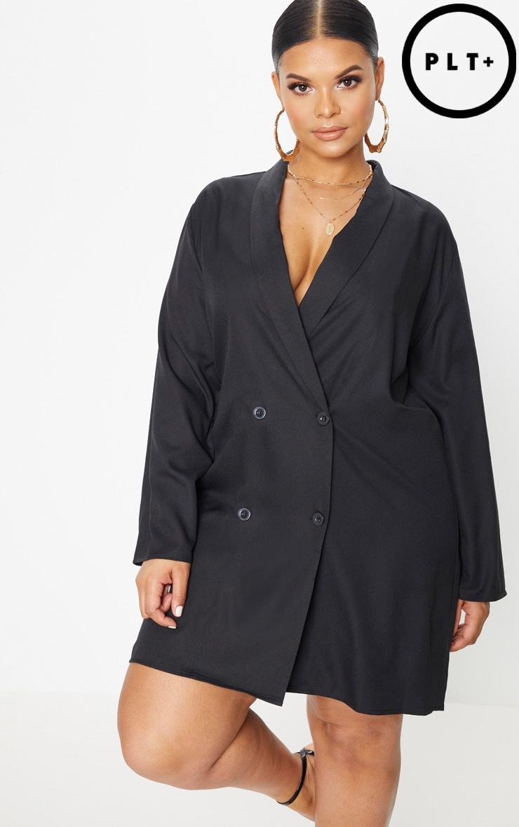 Plus Black Oversized Blazer Dress 1