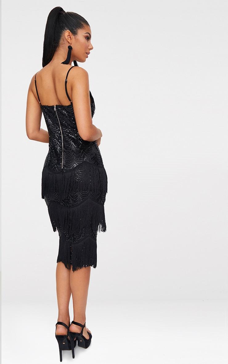 Black Sequin Tassel Detail Strappy Midi Dress  2