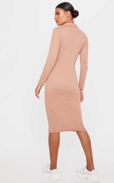 Camel Heavy Rib Button Front Collar Detail Long Sleeve Midi Dress