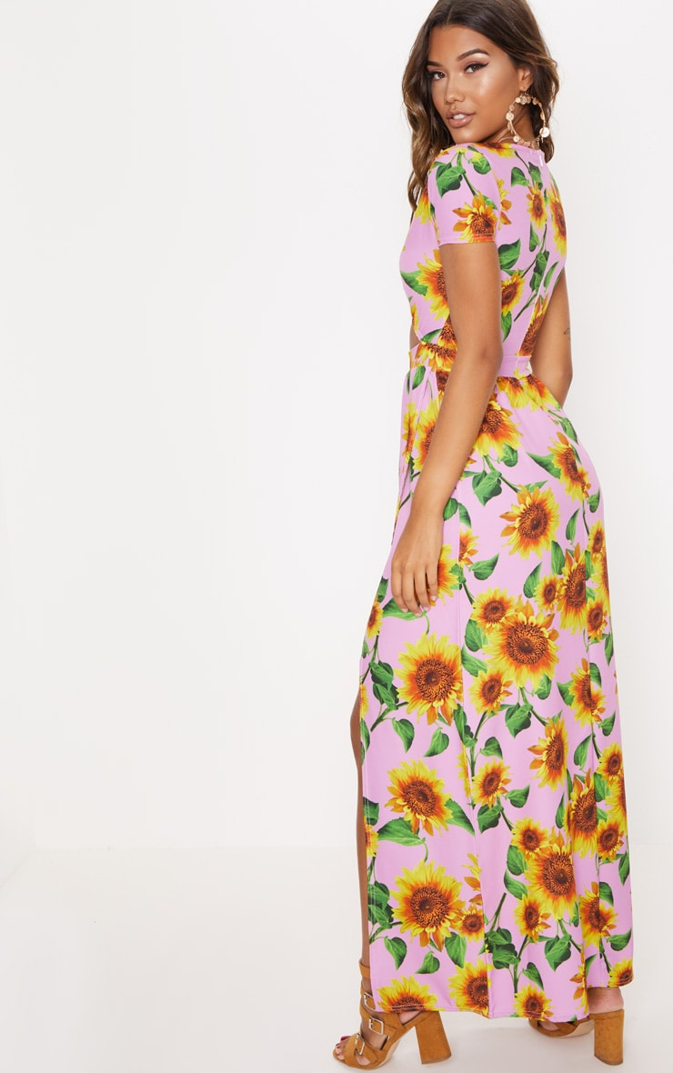 Pink Sunflower Print Cut Out Maxi Dress 2