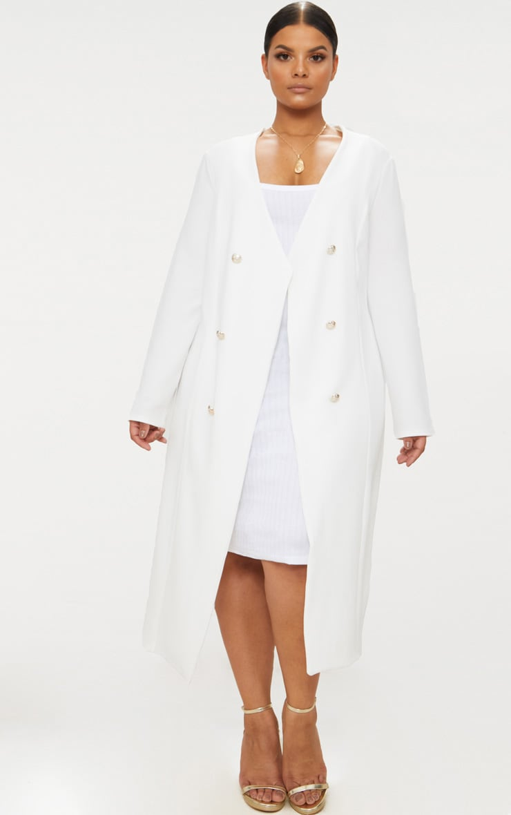 Plus White Military Button Detail Duster Coat 1