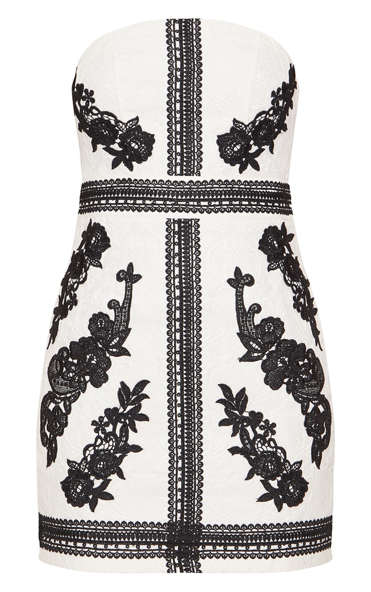 White Jacquard Black Embroidered Bandeau Bodycon Dress 4