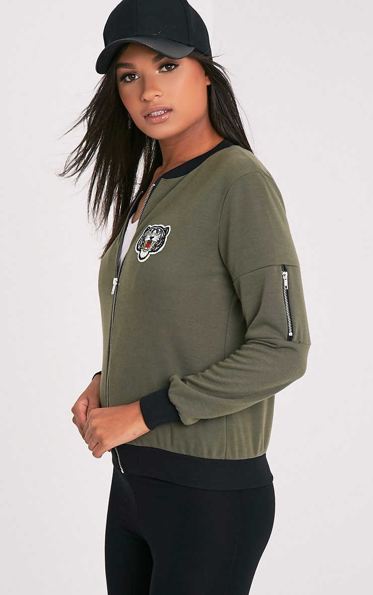Joella Khaki Jersey Badge Detail Bomber Jacket 4