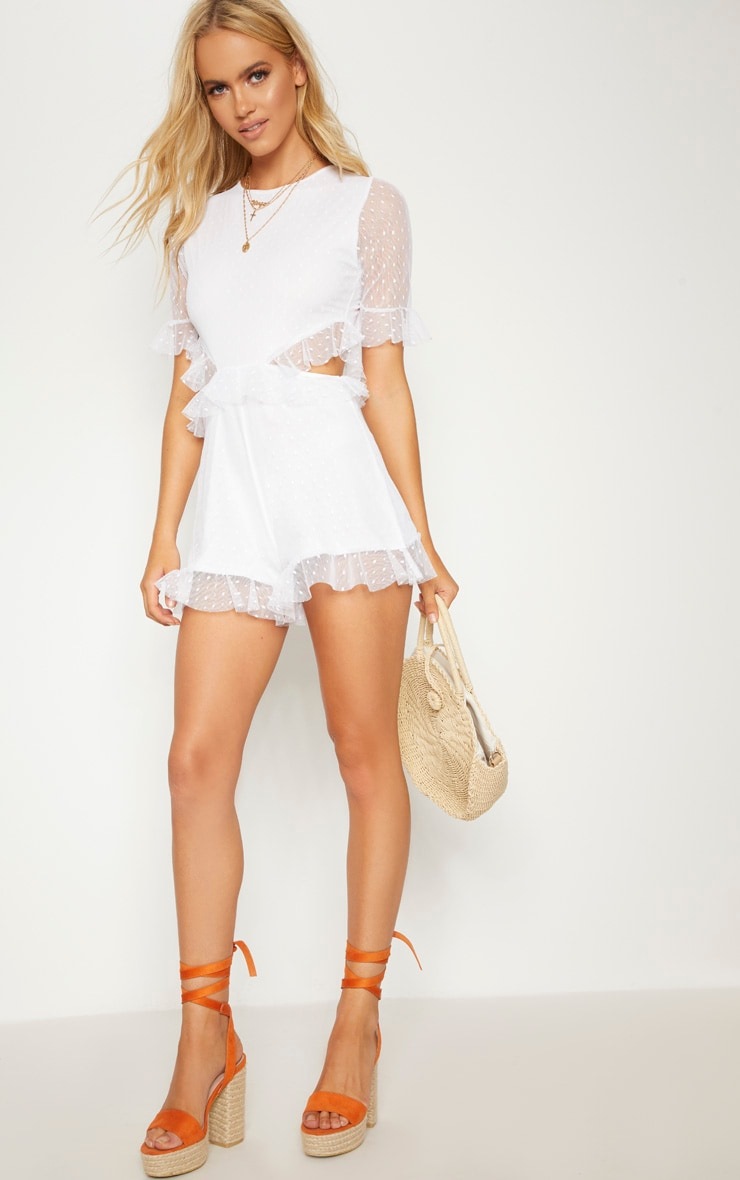 White Dobby Mesh Frill Cut Out Waist Romper 4