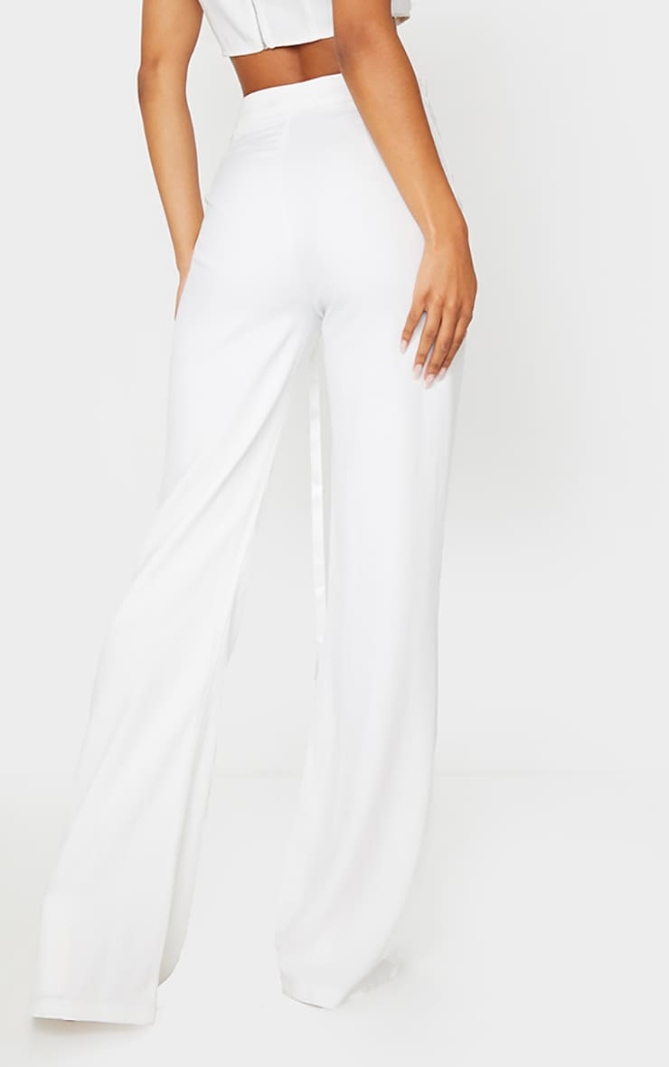 White Woven High Waist Satin Tie Detail Flared Pants 3