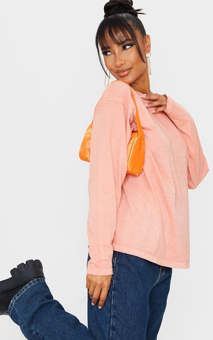 Pastel Orange Washed Long Sleeve T Shirt 1