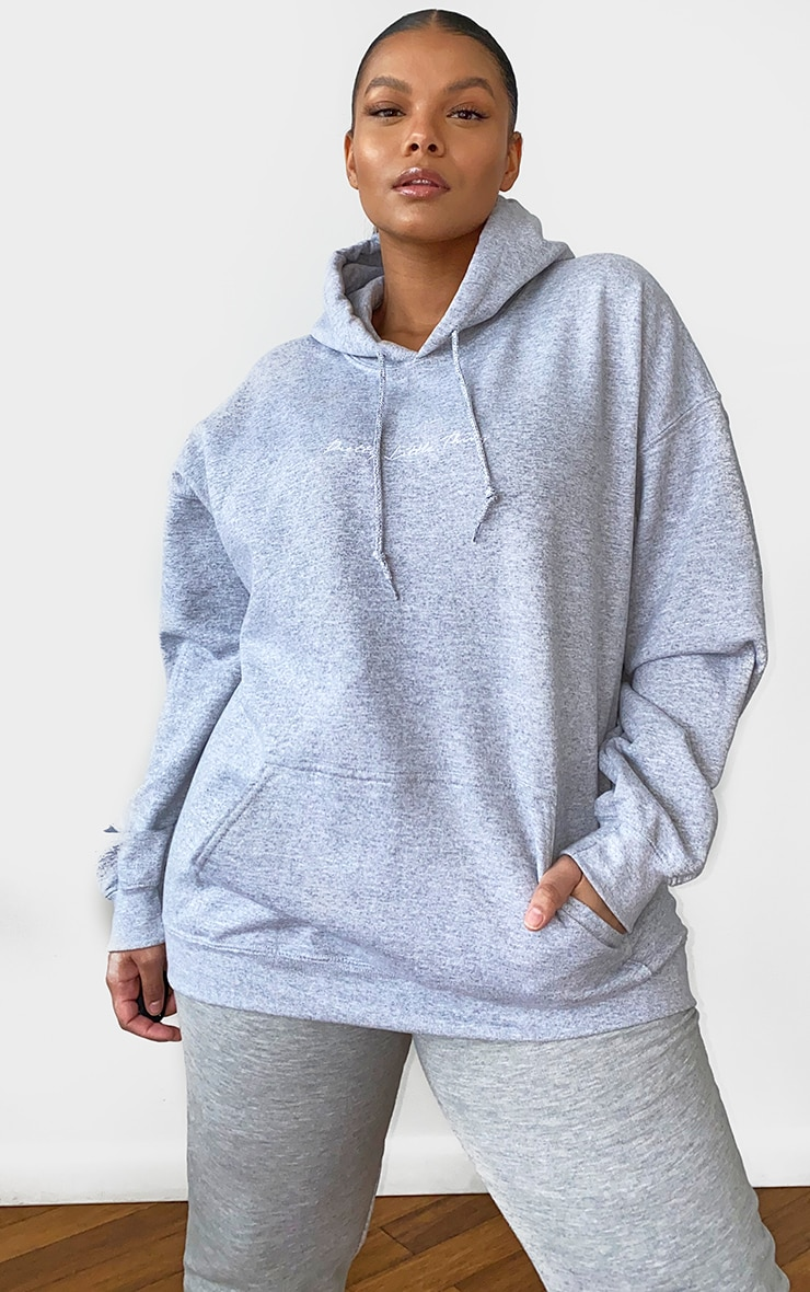 PRETTYLITTLETHING Plus Grey Marl Embroidered Oversized Hoodie 3