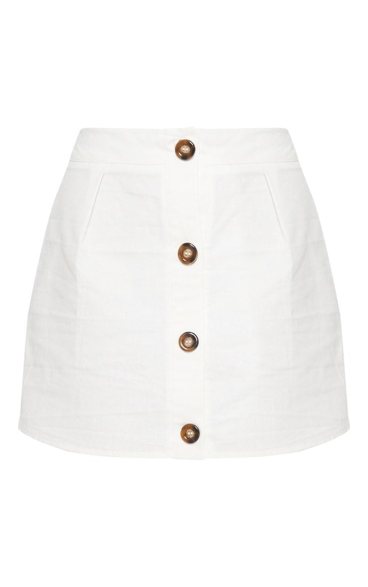 White Cotton Button Detail Mini Skirt 3