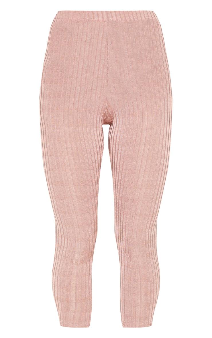 Legging court côtelé rose pastel 3