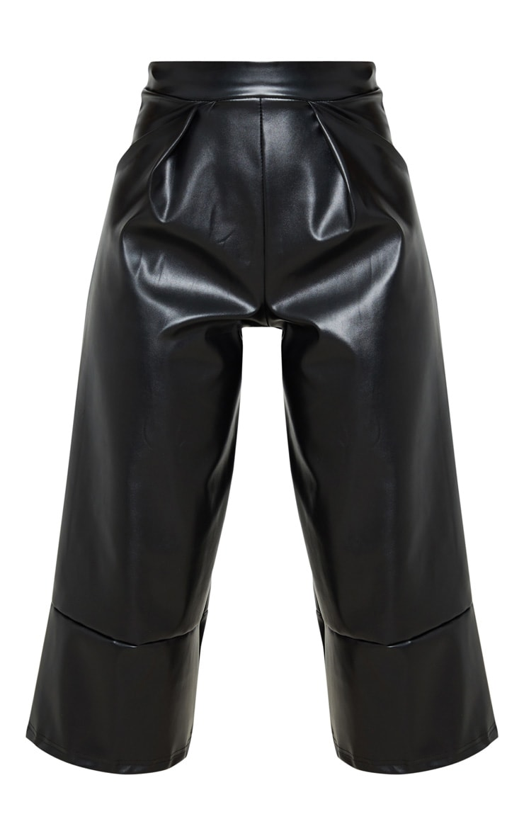 Petite Black PU Culotte Pants 3
