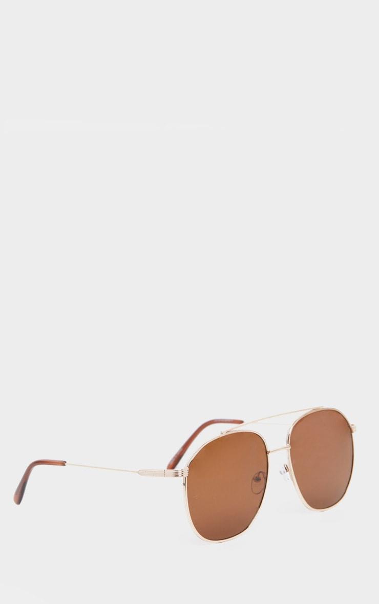 Brown Lens Gold Frame Aviator Sunglasses 3