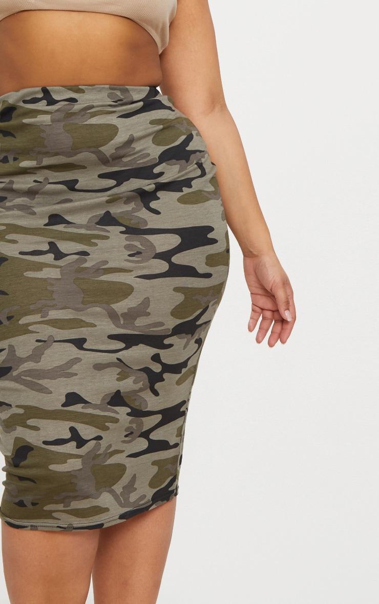 Plus Khaki Camo Print Midi Skirt 4