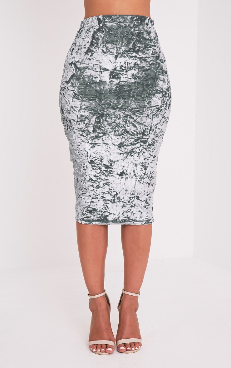 Lacy Silver Crushed Velvet Midi Skirt 3