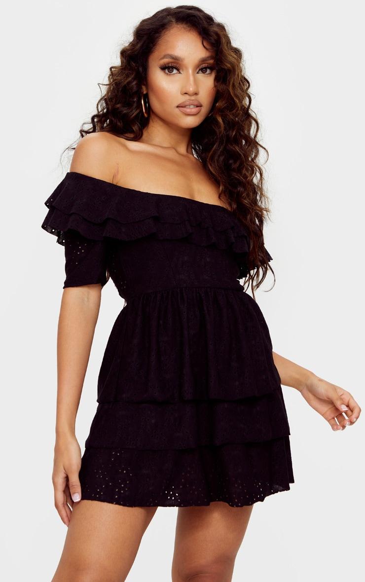 Petite Black Broderie Frill Skirt Bardot Dress 1