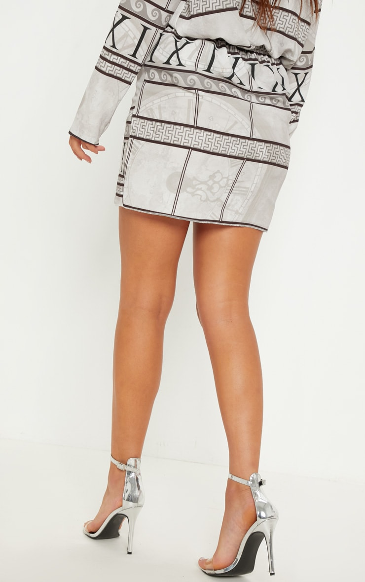 White Abstract Print Wrap Mini Skirt 4