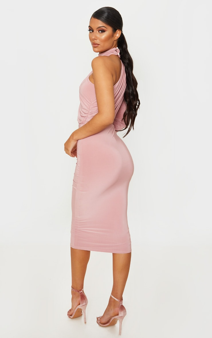 Baby Pink Ruched One Shoulder Midi Dress 2