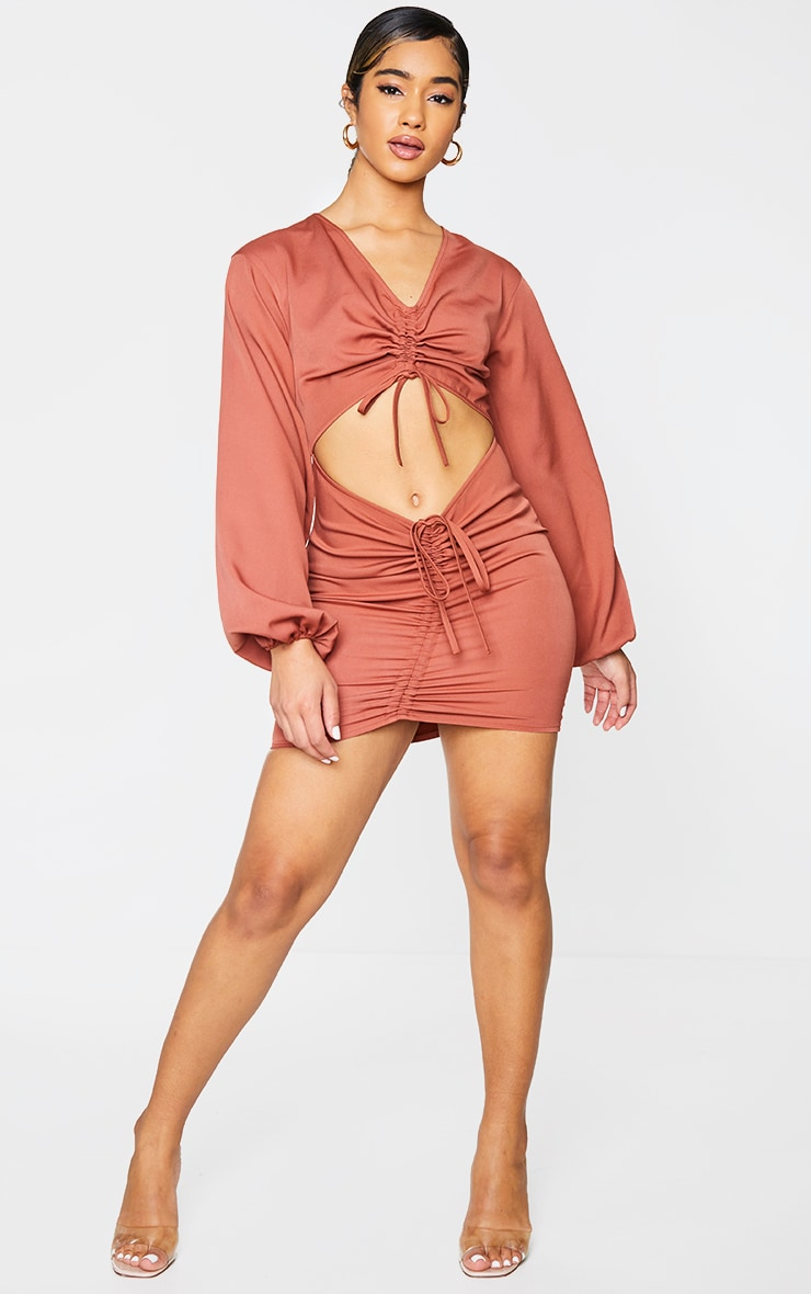 Rust Woven Double Ruched Cut Out Bodycon Dress 3