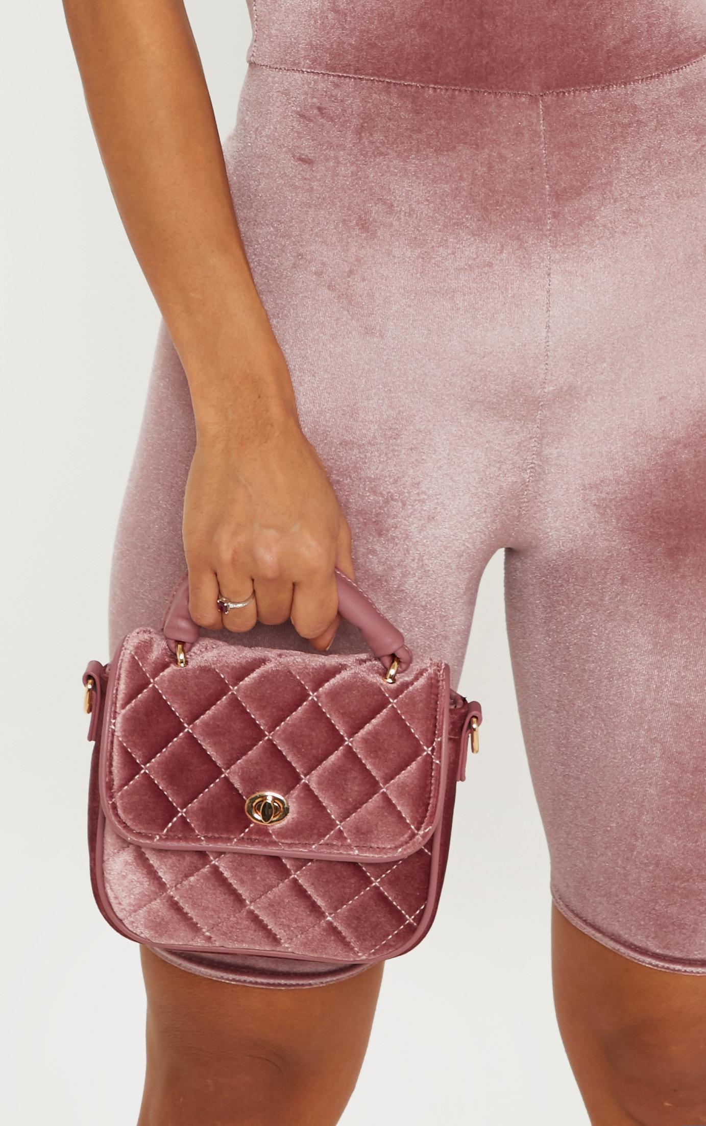 Rose Quilted Velvet Mini Bag 1