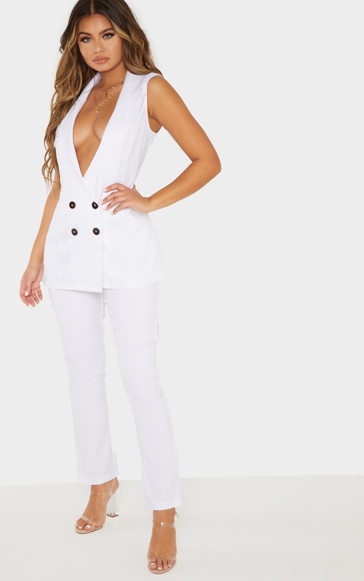 White High Waisted Tailored Cigarette Pants 1