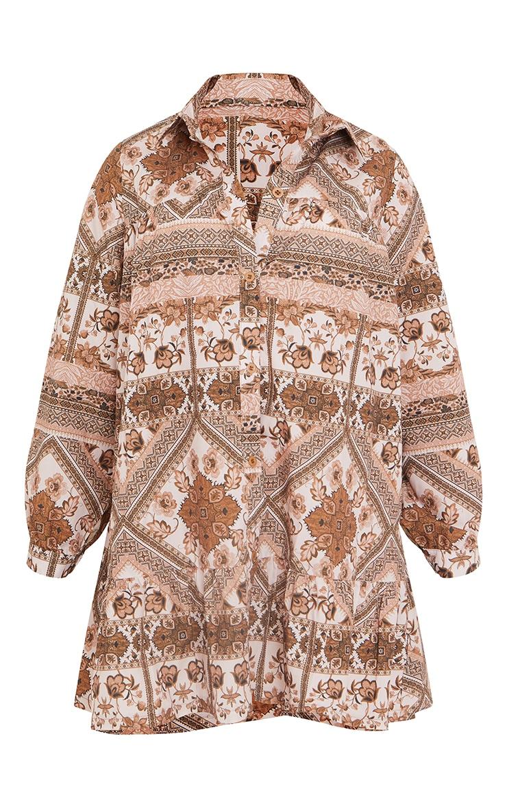 Maternity Brown Oversized Long Sleeve Smock Dress 5