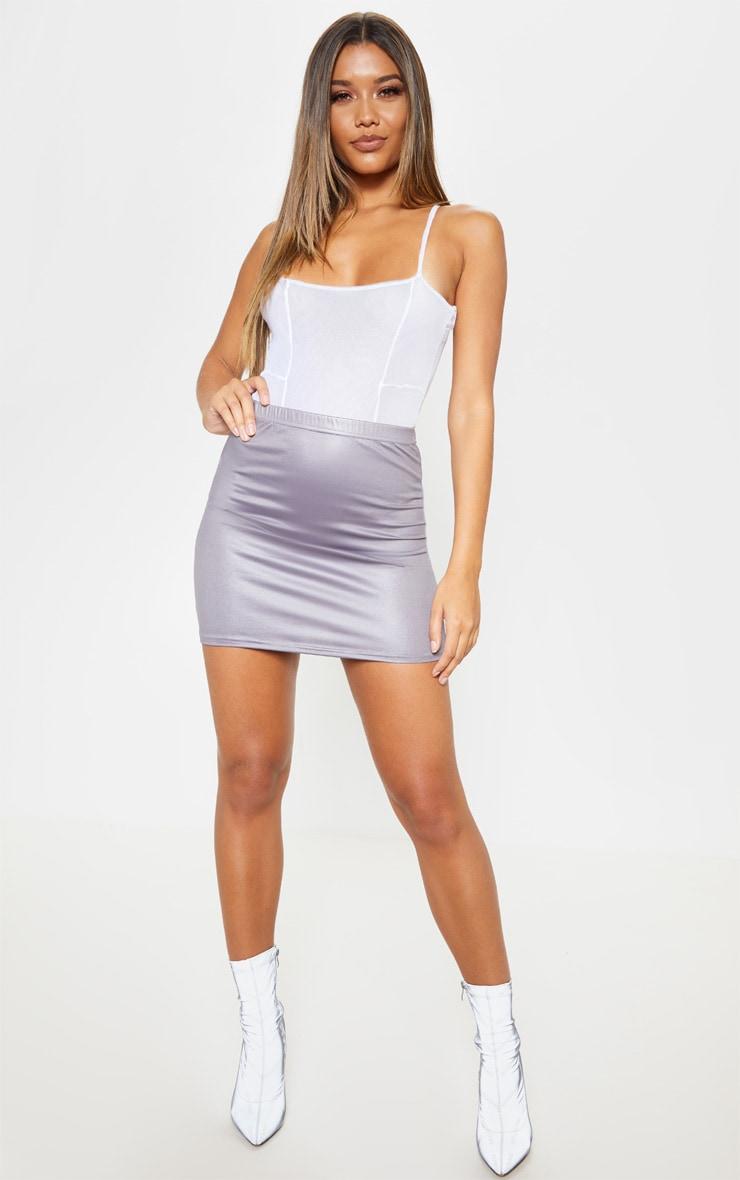 Grey Coated Mini Skirt  5