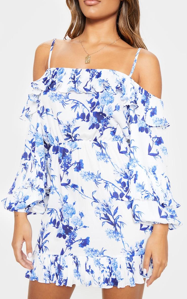 White Floral Print Flute Sleeve Skater Dress 5