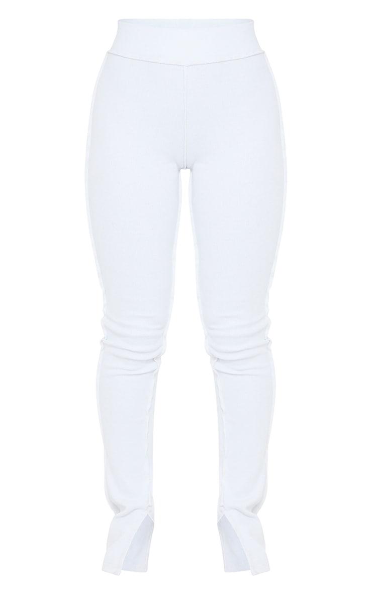 >White Structured Rib Stitch Detail Split Hem Flared Pants 5
