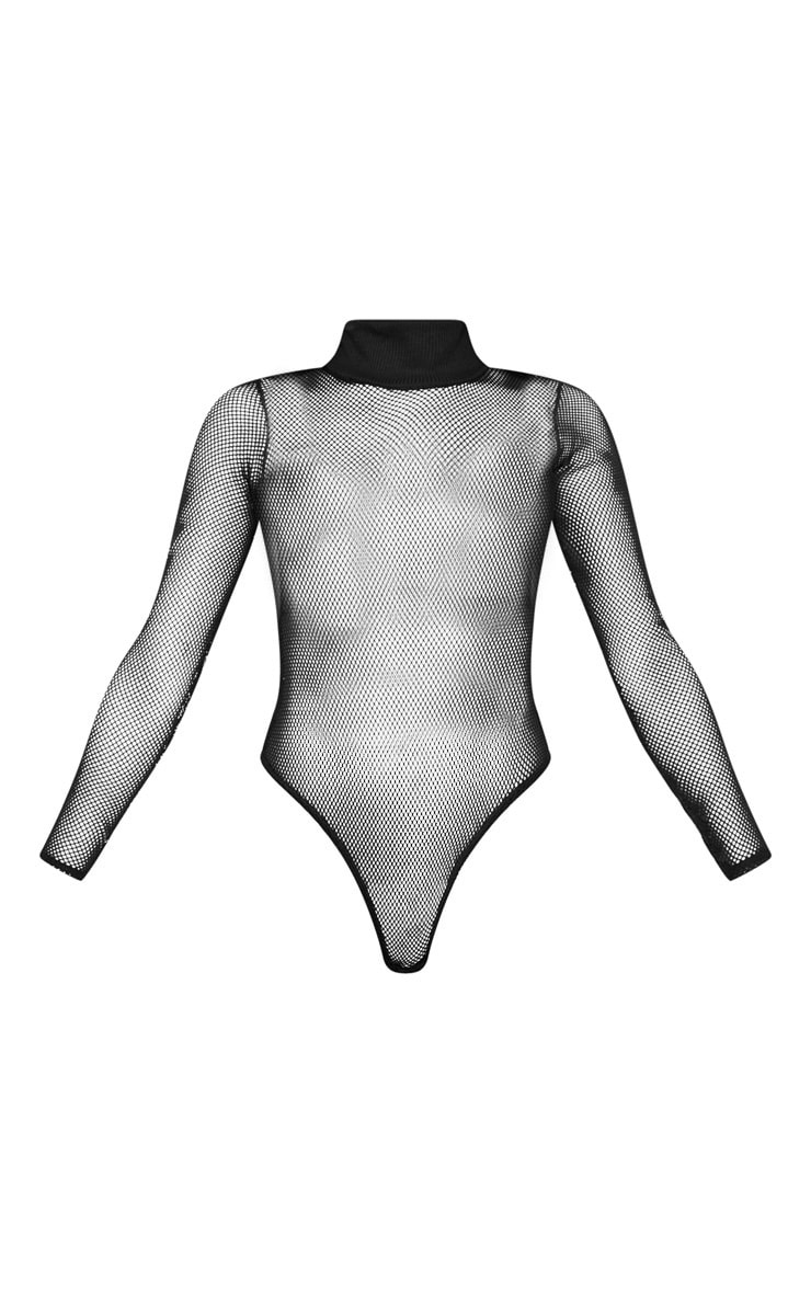 Black Fishnet High Neck Long Sleeve Bodysuit  3