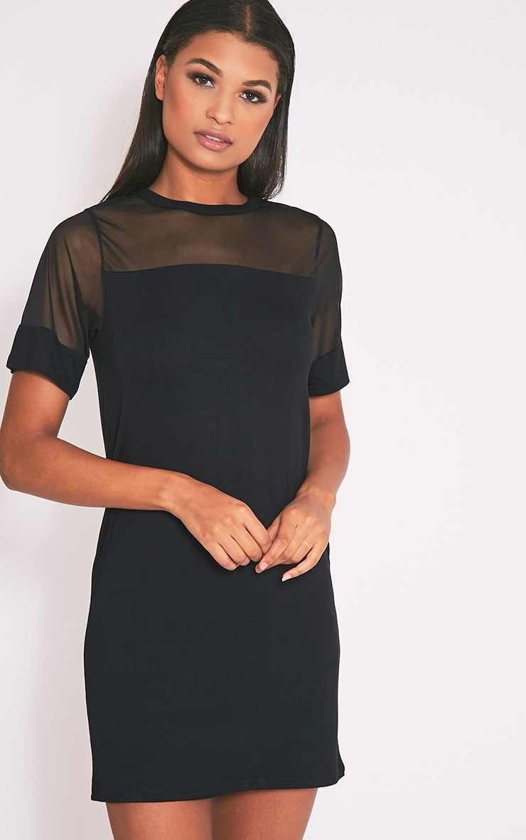 Narla Black Mesh Insert T Shirt Dress 1